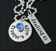 police wife & badge # necklace...love this idea with firefighter and radio number.