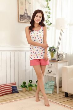0e78a1bb84122 2015 New Summer Women Pajamas Set 100 Cotton Lip