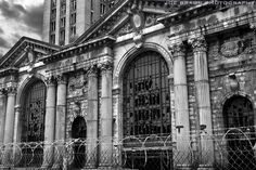The front of the magnificent Michigan Central Station, Detroit