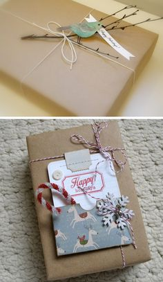 """""""Brown paper packages tied up with string...""""  Love the little branch with the paper bird."""