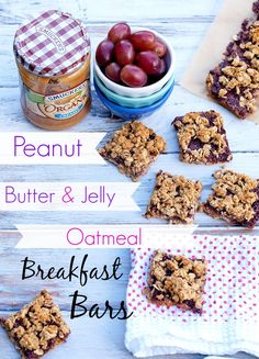 Peanut Butter and Jelly Oatmeal Bars--these quick and easy breakfast bars will please the PB&J lover in your life! Dairy free, gluten free, almost vegan, low sugar
