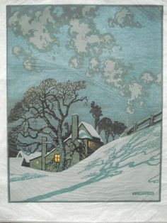 Winter Linocut by S. Landscape Quilts, Winter Art, Wood Engraving, Woodblock Print, Printmaking, Folk Art, Illustration Art, Retro Illustrations, Art Prints