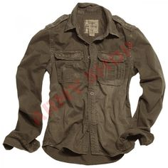 2853e69ca04a Get a stylish vintage look with this Surplus Raw Vintage long-sleeved shirt  in washed brown colour. Check our vast range of other vintage style  clothing at ...