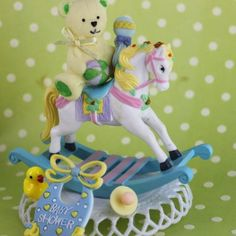Baby Boy Teddy Bear Rocking Horse Cake Topper / Baby Shower Cake Decorations