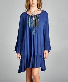 This Blue Front-Tassel Tunic Dress by VELZERA is perfect! #zulilyfinds