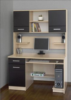 10 DIY Computer Desk Ideas for Home Office Unique computer desk black friday for your cozy home Computer Desk Design, Computer Desks For Home, Office Table Design, Computer Desk With Hutch, Home Desk, Home Office Design, Home Office Furniture, Furniture Design, Computer Tables