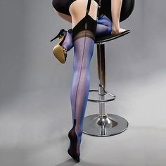 GIO FULL CONTRAST Stockings Electric Blue /Black Heel Seam Welt S M L XL 9 -12.5