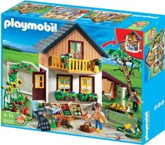 Playmobil Farm House with Shop by Playmobil. $60.65. 41 x 23 x 27 cm. furnished with eat-in kitchen and bedroom. Vegetables and apples can be harvested. A small animal enclosure and small lake are also included.