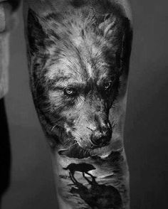 The wolf tattoo is associated with many positive meanings. Check out the huge gallery of excellent wolf tattoos for men and pick your f. Wolf Tattoo Design, 3d Wolf Tattoo, Wolf Tattoos Men, Wolf Tattoo Sleeve, Animal Tattoos, Tattoo Designs, Tattoo Ideas, Octopus Tattoos, Tattoo Trends