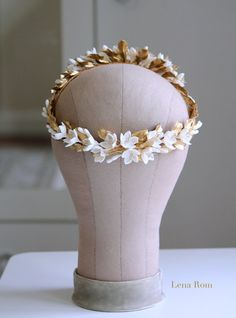 Jasmine gold wreath. Bridal wreath. Boho by LenaRomHeadpieces
