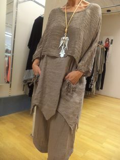 Taupe Very Quirky Lagenlook Linen 2 Piece Tunic Boho Style ONE Size 44BUST Osfa…