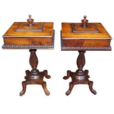 Pair of English Mahogany Humidors | http://www.1stdibs.com/furniture/more-furniture-collectibles/tobacco-accessories/