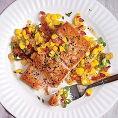 Seared Salmon with Sweet Corn and Bacon Sauté | Cooking Light #myplate, #protein, #veggies