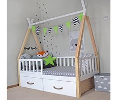 Toddler Teepee Bed With Drawers - Babyzimmer Toddler Teepee, Diy Toddler Bed, Toddler Rooms, Wooden Toddler Bed, Baby Bedroom, Baby Boy Rooms, Nursery Room, Kids Bedroom, Baby Girls
