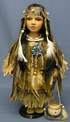 Porcelain And China Marks Info: 5515907436 Native American Dolls, Native American Beauty, Native American Indians, American Girl, Native Americans, Porcelain Doll Makeup, Porcelain Dolls For Sale, Porcelain Vase, Painted Porcelain