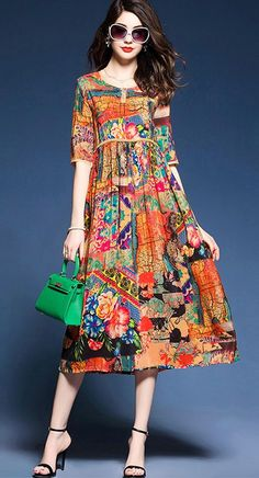 Women's Beach Holiday Plus Size Simple Chinoiserie Sophisticated Chinese Style Dress