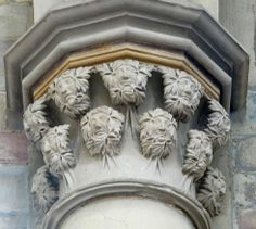 Eleven small Green Men on a capital in Magdeburg Cathedral, Germany (photo Maddy Aldis-Evans)