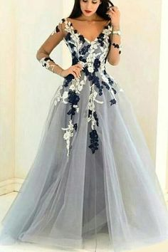 Gray organza V-neck long sleeves see-through A-line Prom Dress 0222 by RosyProm, $163.99 USD