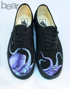 c11254aee9 Items similar to Custom Painted Octopus Vans Shoes - Hand Painted Octopus Shoes  on Etsy
