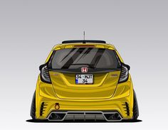 Honda Jazz, Honda Fit, Honda Vtec, Honda Civic, Japanese Sports Cars, Old Garage, Car Drawings, Art Cars, Custom Cars
