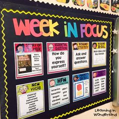 By request, I am sharing my editable focus wall. When creating this focus wall, I wanted to create something that was easy to keep up with, kept all the important focuses for the week in one place, and looked good in my room! New Classroom, Classroom Setting, Classroom Design, Classroom Displays, Classroom Organization, Classroom Ideas, Classroom Wall Decor, Kindergarten Bulletin Boards, Classroom Management