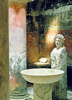 A statue at Herculaneum, Pompeii's 'little sister'
