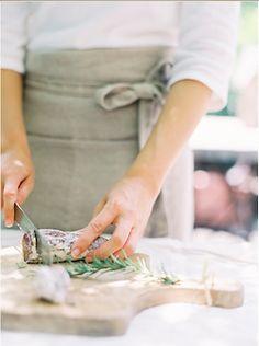 cutting salami