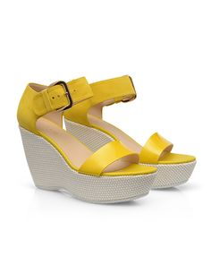 #HOGAN Women's Spring - Summer 2013 #collection: patent leather and suede #sandals H200 with raffia platform.