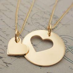 Oro llena de joyas de hija de madre  corazón personalizado