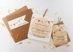 Bunting & Lace Pouch Wedding Invitations – norma&dorothy