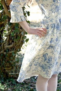 Dress Bohème from Blue French Toile de Jouy. by MAStreetWear