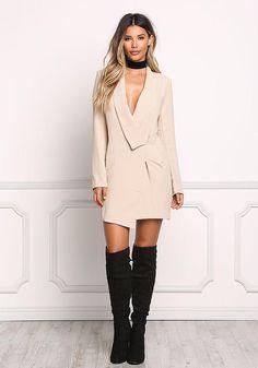 Beige Plunge Faux Wrap Tuxedo Dress - Dresses - Boutique Culture