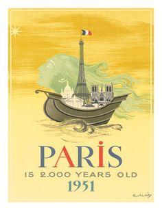 Vintage Travel Poster - France - Paris 1951