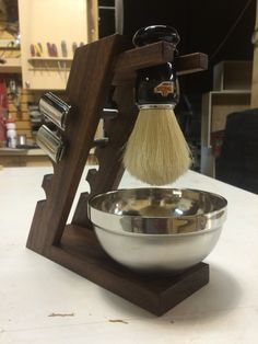 Hand made brush and double edge razor stand, solid walnut.