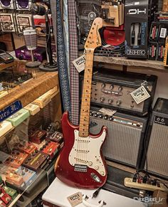 """What they're calling the """"mix and match"""" 😆spotted at It's essentially a including a neck (bullet truss rod, but no serial number. Vintage Electric Guitars, Cool Electric Guitars, Vintage Guitars, Jimi Hendrix, Vintage Les Paul, Fender Acoustic, Rock N Roll, Music Studio Room, Fender Stratocaster"""