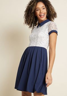 Let the navy collar and white lace bodice of this ModCloth namesake label dress bring out the most polished aspects of your personality! Further detailed...