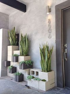 Eclectic Front Door with exterior stone floors, House Numbers Avalon - Modern House Number in Brushed Nickel, Raised beds Eclectic Front Doors, Cinder Block Garden, Cinder Blocks, Cinder Block Ideas, Cinder Block Furniture, Garden Blocks, Cinder Block Bench, Outdoor Spaces, Outdoor Living