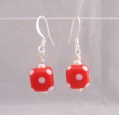 Unique Earrings for Girlfriend Gift, Red Glass Polka Dot Earrings