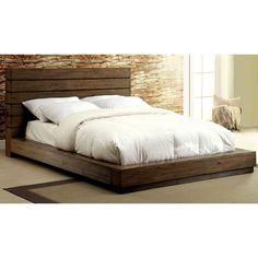 Furniture of America Emallson Rustic Natural Tone Low Profile Bed (Cal. King), Brown, Size California King