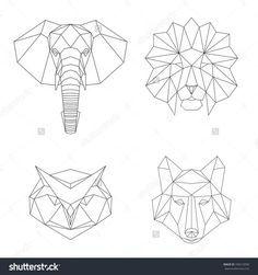 Tatto Ideas 2017  Vector Geometric Low Poly Illustrations Set. Lion Elephant Wolf