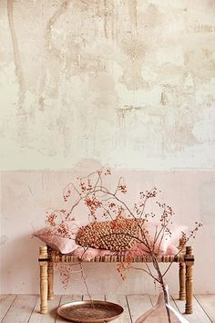 Get the perfect distressed wall look with this mural. The design has a duotone blush and cream design with a shimmering pearlescent finish. Measures 8 feet 8 inches by 9 feet 2 inches when assembled.