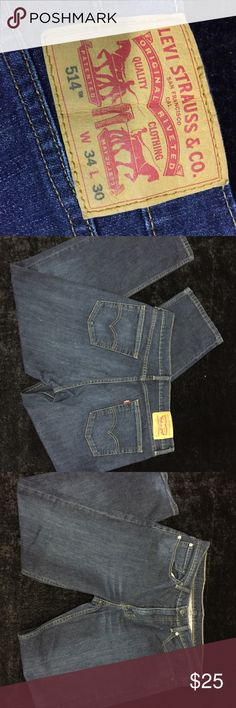Levi Strauss 514 W34 L30 Levi Strauss 514 W34 L30 deep blue jeans. Little fading but no fraying on bottom hem. Great condition! Open to offers:) levi strauss Jeans Straight Leg