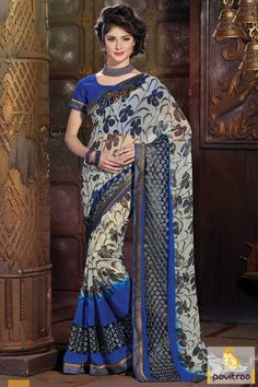 Amazingly chic and stylish blue and grey printed party saree with festival offer. Buy it Online!!I It is fine with alluring floral printed designs with comfy look.  #saree, #sarees, #partywearsaree, #designersaree, #onlinesaree, #partysaree, #festivalsaree, #occasionsaree, #womenfashionsaree, #embroiderysaree, #pavitraa, #pavitraafashion http://www.pavitraa.in/store/party-wear-saree/ Call Us : 917698234040