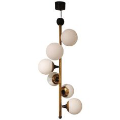 A Six Light Mid Century Chandelier by Stilnovo | From a unique collection of antique and modern chandeliers and pendants  at http://www.1stdibs.com/lighting/chandeliers-pendant-lights/