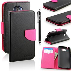 Amazon.com: Motorola Droid Turbo Case, RANZ® Stylish Design Deluxe PU Leather Folio Flip Book Wallet Pouch Case Cover (Black/Pink) For Motorola Droid Turbo XT1254 (Verizon) with Touch Stylus: Cell Phones & Accessories