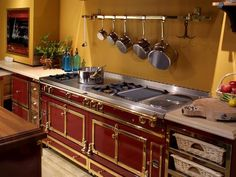 """When it comes to La Cornue ranges, there is no mincing words: """"They are stunning showpieces and master culinary tools,"""" declares Cos Cob, Conn., designer Rebecca Karson. Like a designer dress, each La Cornue range is handmade to order, with the client in total control of color, trim finishes and cooking elements. """"The design of a hand-crafted La Cornue range lends Old World charm to a modern kitchen,"""" adds Karson. Photo courtesy of La Cornue"""
