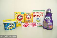 DIY Laundry Detergent Box of Borax 1 lb 7 oz) Box of Arm & Hammer Super Washing Soda 1 lb) Container of OxyClean 2 oz) Bars of Zote Soap 1 lb) Box of Arm & Hammer Baking Soda oz) Bottle of Purex Crystals Fabric Softener Homemade Cleaning Products, Cleaning Recipes, Natural Cleaning Products, Cleaning Hacks, Cleaning Supplies, Cleaning Solutions, Laundry Solutions, Laundry Supplies, Laundry Hacks