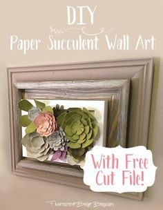 DIY Paper Succulent Wall Art With Free Cut File #Silhouette SVG STUDIO #Papercraft