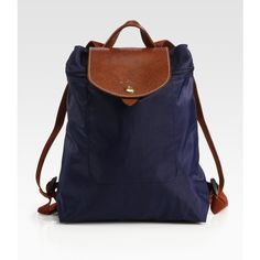 Longchamp Le Pliage Backpack featuring polyvore fashion bags backpacks bolsos purses apparel & accessories longchamp leather knapsack real leather backpack leather backpack leather zip backpack