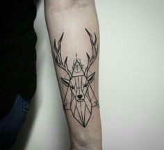 Geometric Deer Tattoo On Left Forearm Forearm Tattoos, Body Art Tattoos, Small Tattoos, Sleeve Tattoos, Tattoos For Guys, Tattoos For Women, Tatoos, Hirsch Tattoo Frau, Hirsch Tattoos